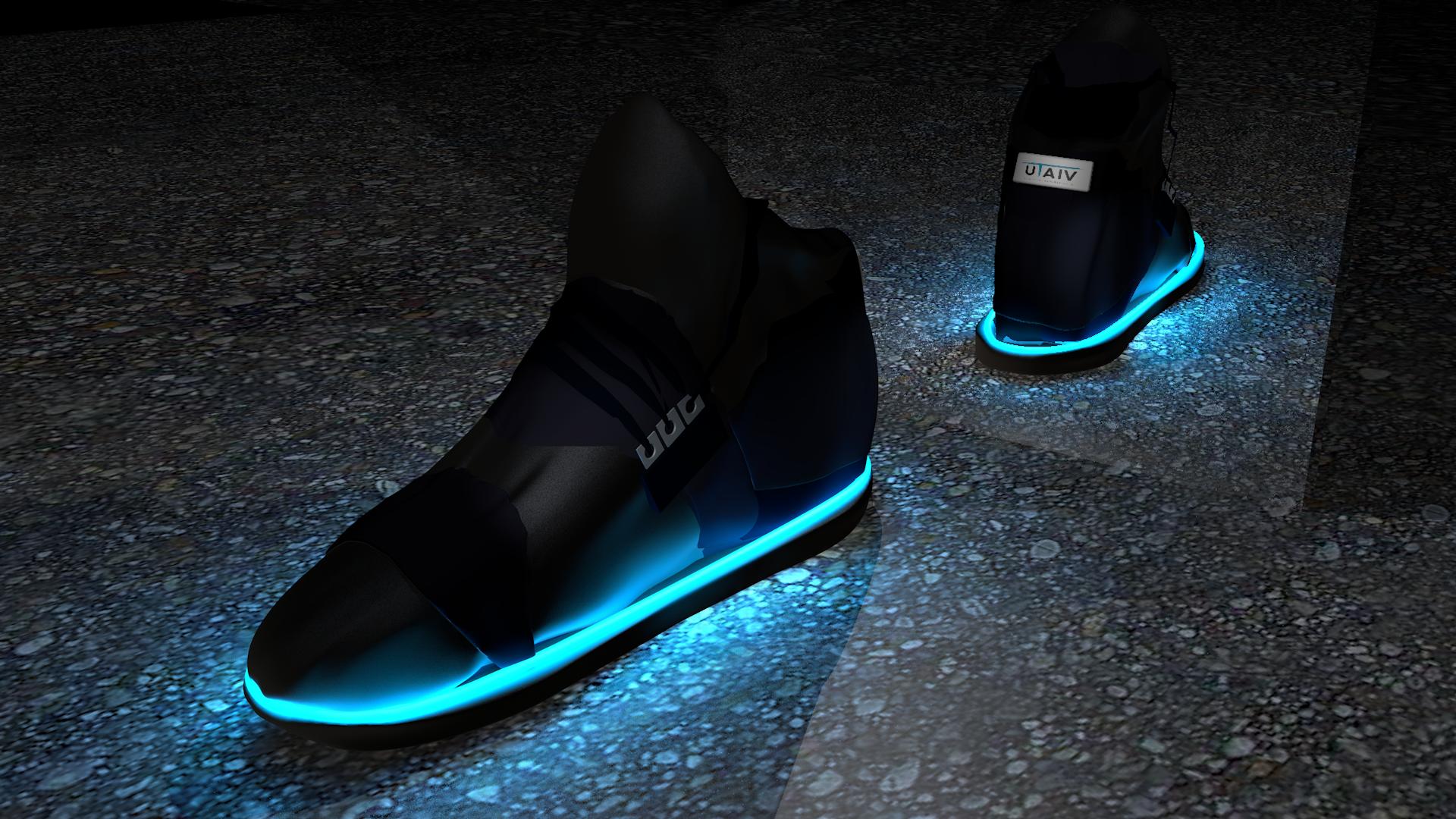 3D-Modell des eingeschalteten Schuhs