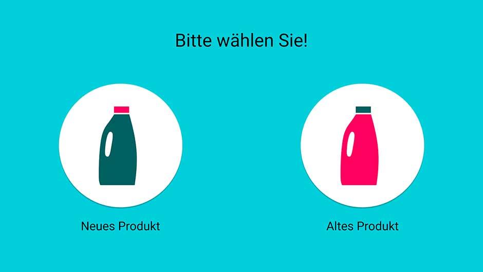 Hier kann der Anwender zwischen dem neuem, nachhaltigen und dem alten, konventionellen Produkt wählen.
