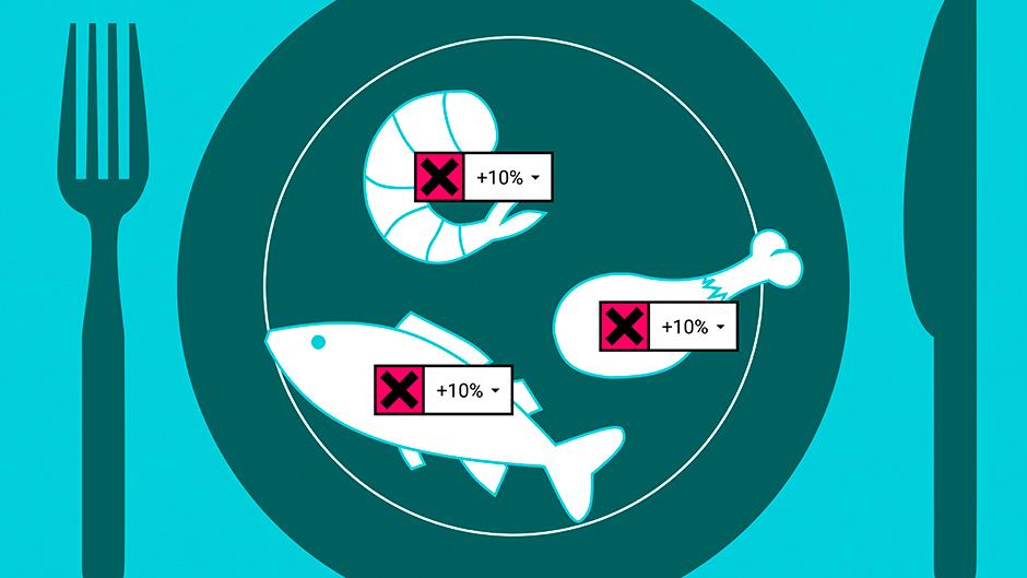 Auf dem folgenden Screen sieht der Anwender von der Plastikverschmutzung betroffene Lebensmittel. Die Erhöhung der Krankheitswahrscheinlichkeit wird in Prozent angezeigt.
