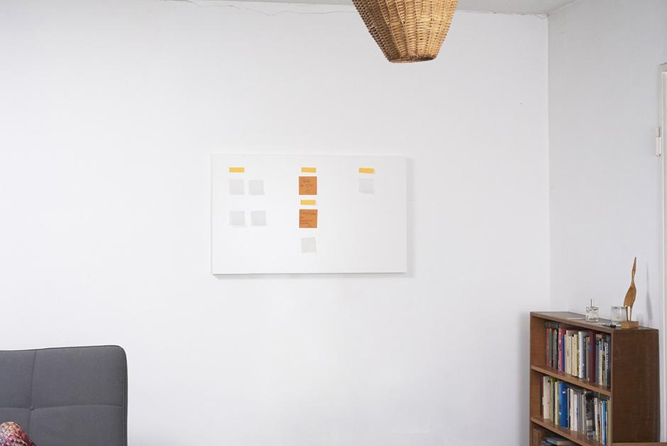 Foto vom KanBoard: Personal Kanban Board hängt an der Wand in einem Wohnzimmer