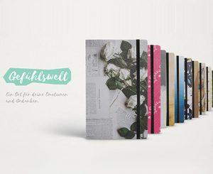 Journale mit individuell gestalteten Einbänden.