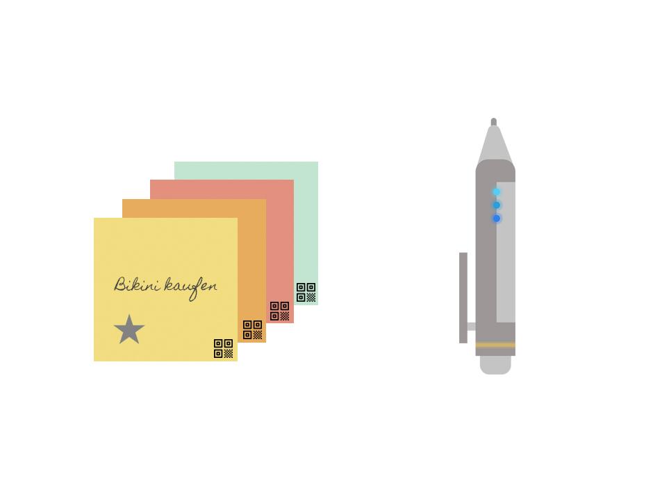 Illustrationen der KanNotes in vier Farben und des KanPen