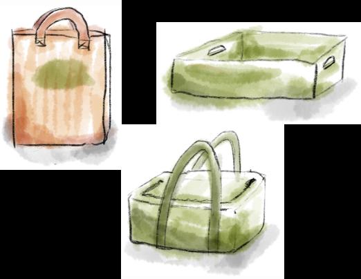 Eine Papiertüte, eine grüne Kiste und eine grüne Kühltasche in Wasserfarben gezeichnet