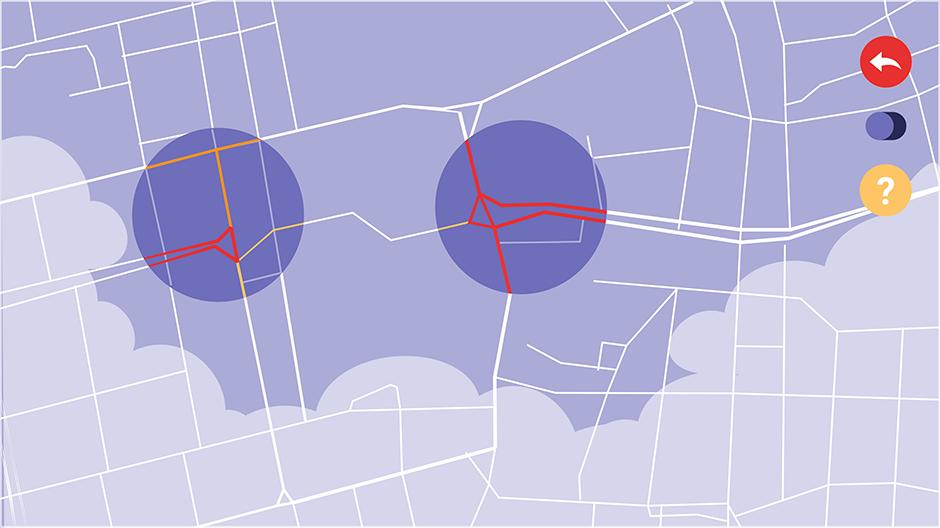 Bildschirmdetail mit der Auswahl von Knotenpunkten.