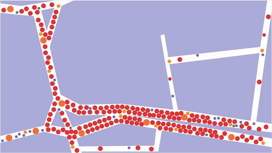 Detail der Simulation: Straßenkarte mit Verkehrsteilnehmern als Punkte auf den Straßen.