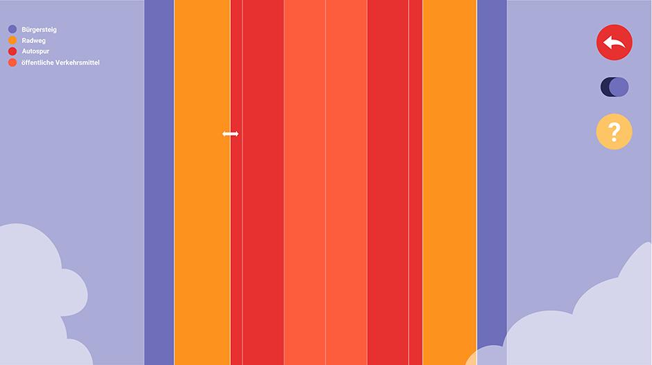 Detail der Simulation: Spurbreiten werden in verschiedenen Farben dargestellt. Sie werden mit dem Cursor breiter oder schmaler gezogen.
