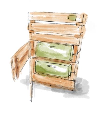Große Holzkammer mit zwei offenen Fächertüren und in denen je eine grüne Kiste drin steht in Wasserfarben gezeichnet
