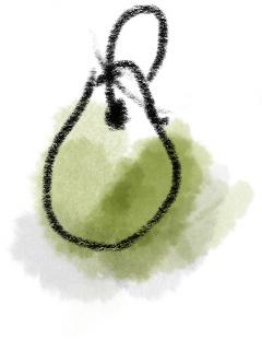 Runder grüner Anhänger für den Schlüssel in Wasserfarben gezeichnet