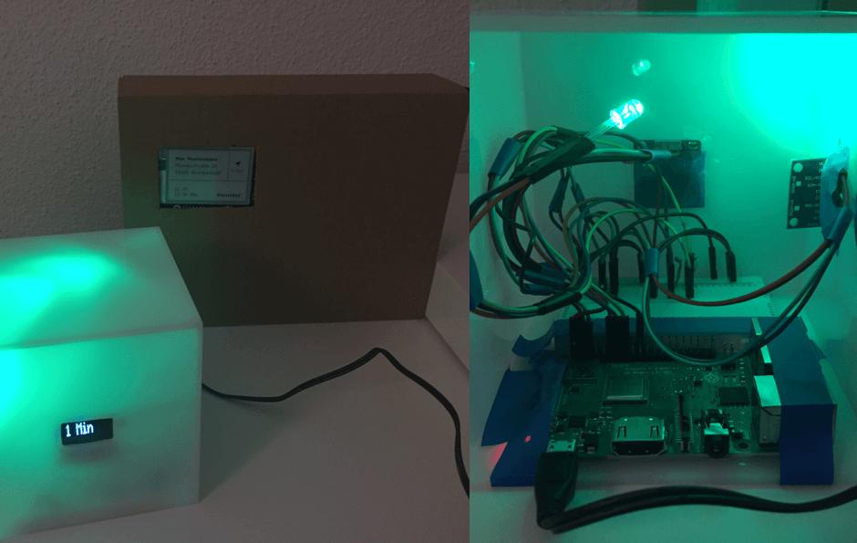 Der technische Prototyp mit grünem Leuchten. Bereit zur Paketannahme.