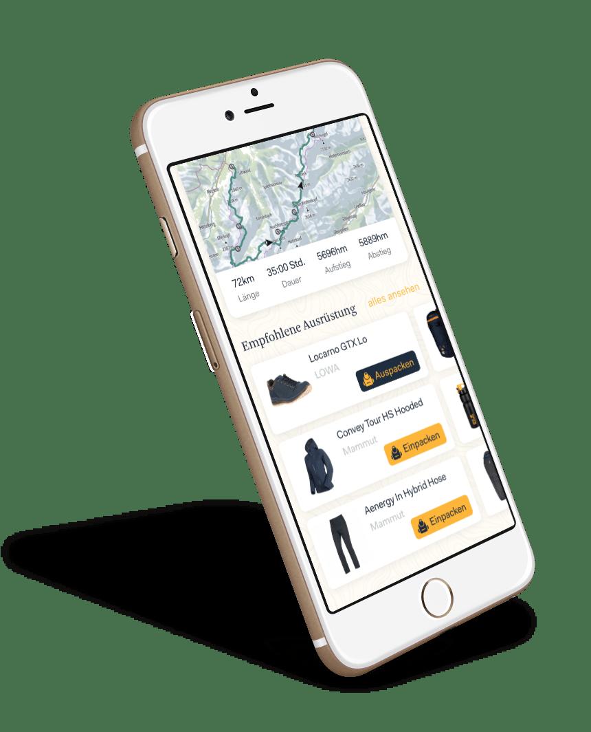 Triphunt Ausrüstung App Screen