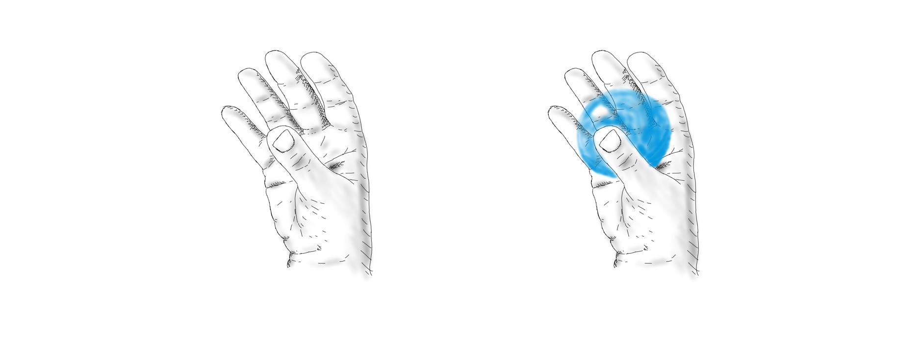 Hände mit haptischer Augmentation