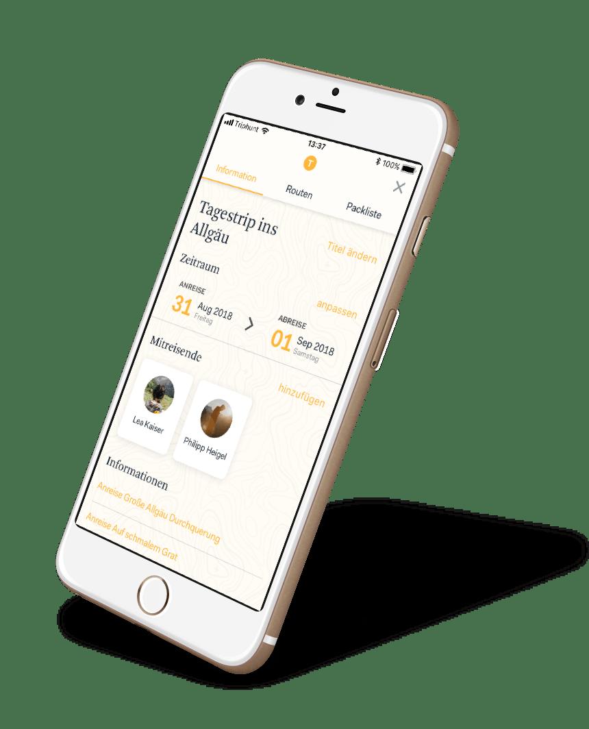 Triphunt Planung App Screen