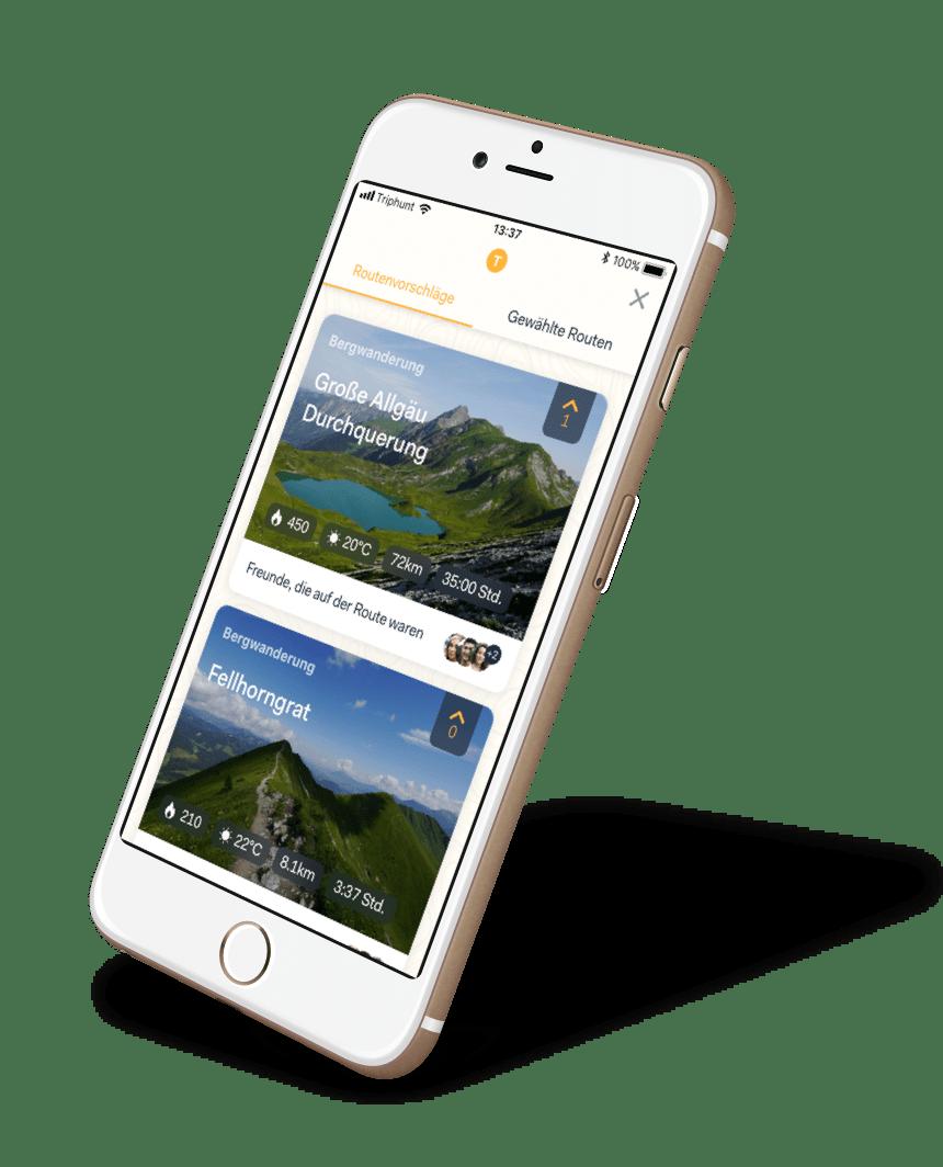 Triphunt Routen App Screen