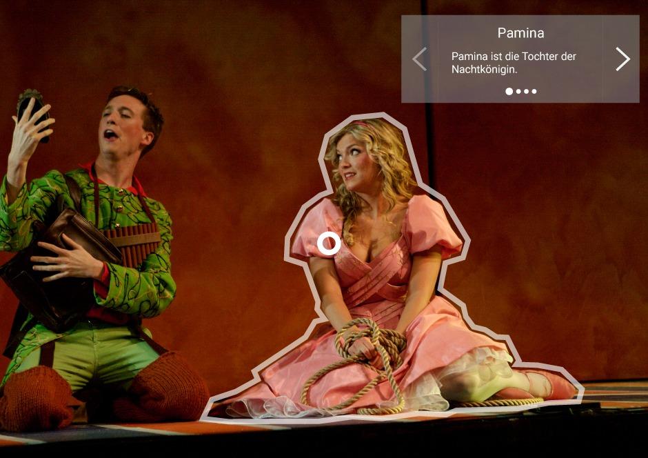 Informationsbox in einer Beispielszene aus der Oper Zauberflöte von Mozart.