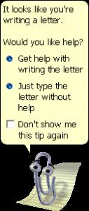 Screenshot von Clippy, dem Digitalen Assistenten von Microsoft.