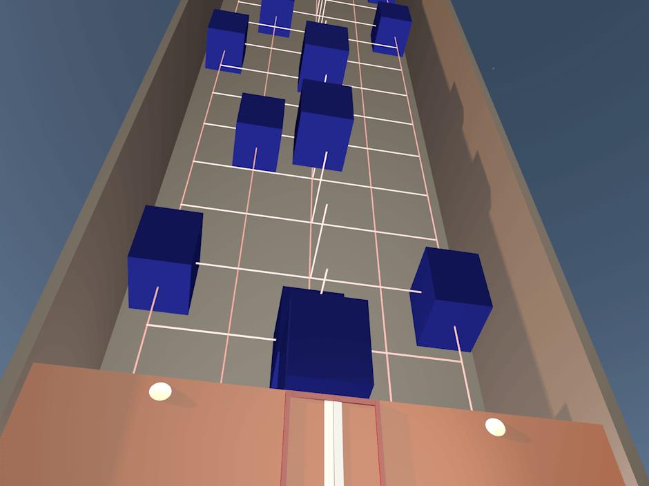 Viele Aufzüge fahren Kreuz und Quer auf mehreren Spuren in einem hohen Schacht.