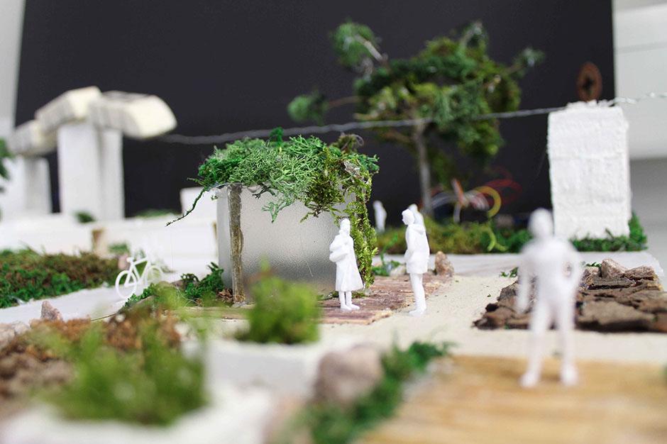 Nah-Ansicht des Modells mit einer Garten-Szene.