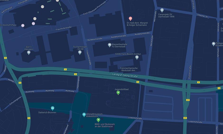 Stadtkarte Darmstadts mit der Landgraf-Georg-Straße