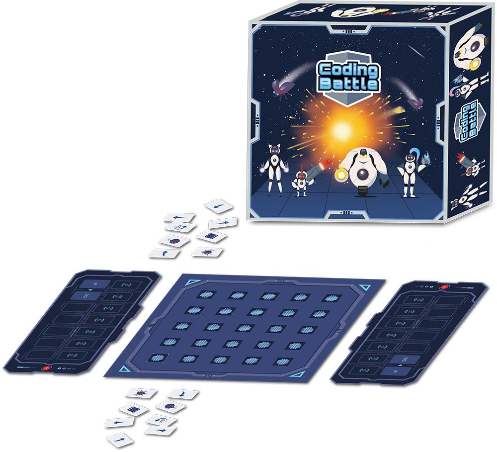 Gesamtansicht der Spielverpackung mit Spielinhalt