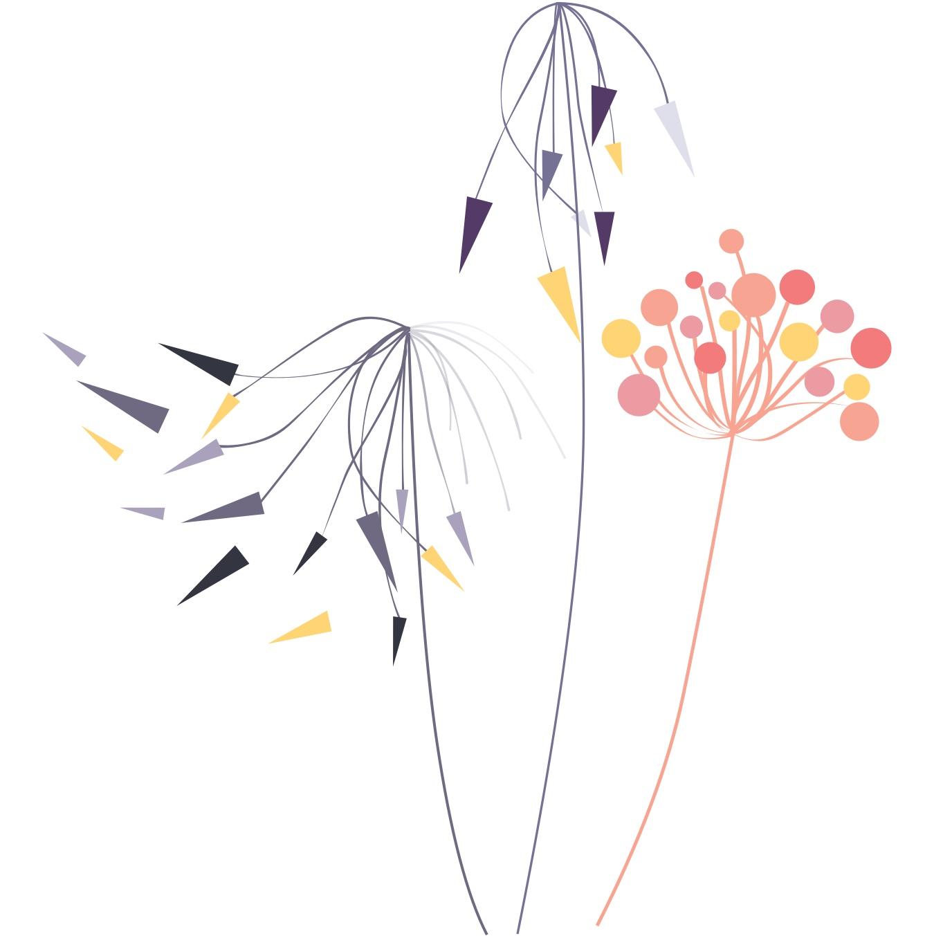 Drei Blumen zeigen eine positive Stimmung