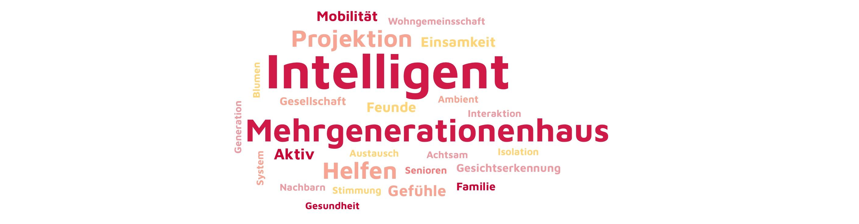 Verschieden angeordnete Schlagwörter, dargestellt nach Relevanz für das Projekt (Größe der Darstellung). Die relevantesten sind INtelligenz, Mehrgenerationenhaus, Projektion, Helfen, Gefühle. Die
