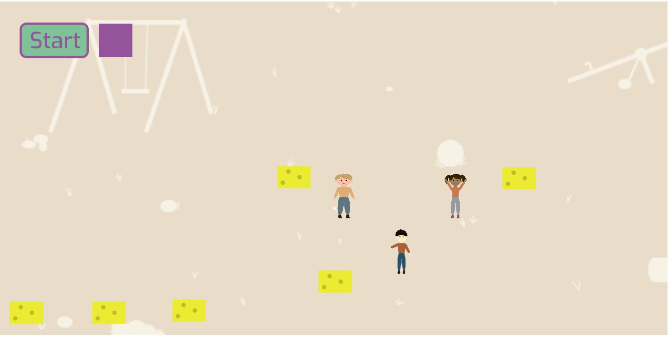 Hier ist ein Screenshot unserer Simulation, auf dem man einsieht, wie man die Schwämme platzieren kann