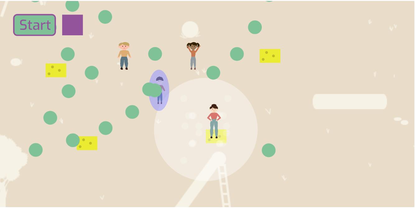 Ein Screenshot unserer Simulation bei dem man sieht wie unser weiblicher Hauptcharackter auf einem Schwamm steht und so Viren in der Nähe verschwinden lässt