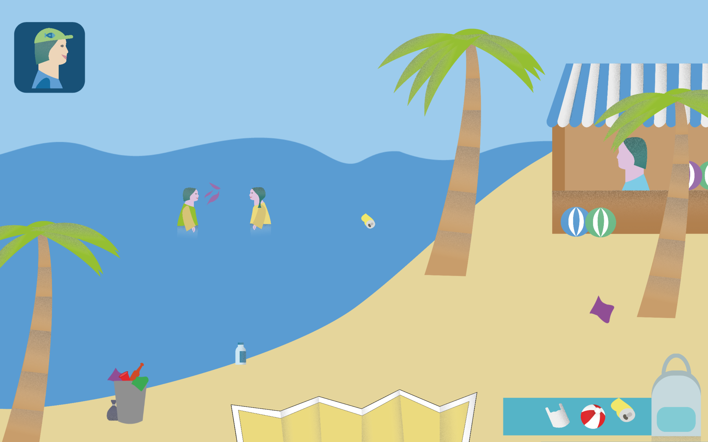 Der Screenshot aus der Simulation zeigt eine Spiel-Situation am Meer. Kinder haben im Wasser Ball gespielt und der Ball ist dabei kaputt gegangen. Rechts ist ein Laden für neue Bälle. Weiter unten sieht man die Tasche, mit der jeder Spieler ausgestattet ist. Sie ist geöffnet und darin befindet sich ein bereits eingesammelter Ball, eine Tüte und eine Dose. Auf dem ganzen Strand ist Müll verteilt.