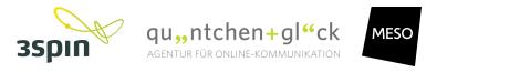 Logos der Supporter 3spin, quäntchen+glück und Meso