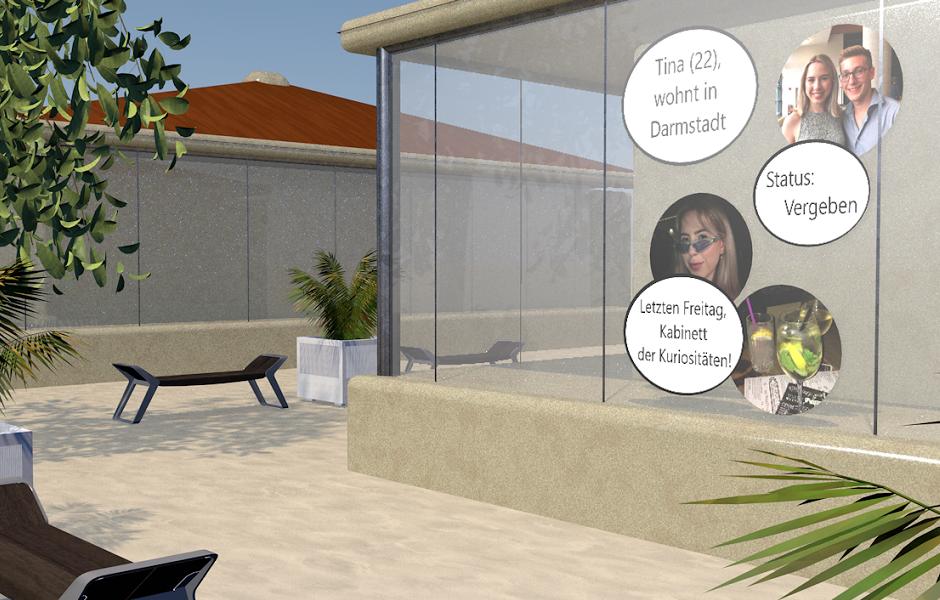 Ein 3D Modell, welches die Visualisierung der Instagram Daten in der Stadt zeigt. Die Post sind in Infobläschen gepackt und erscheinen auf einem Schaufenster