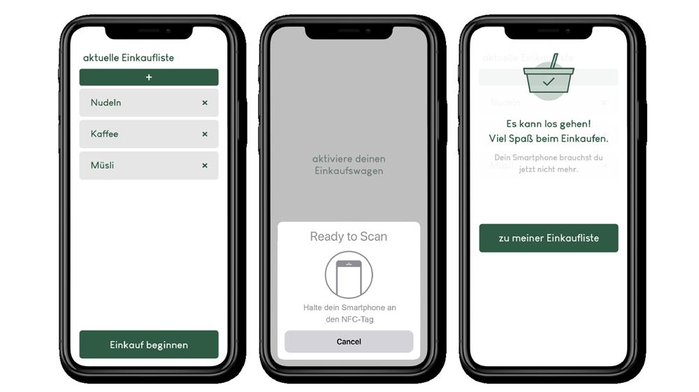 Die Funktion der SmartMart-App ist Einkaufsliste und Aktivierungsgerät für den Einkaufswagen zugleich.