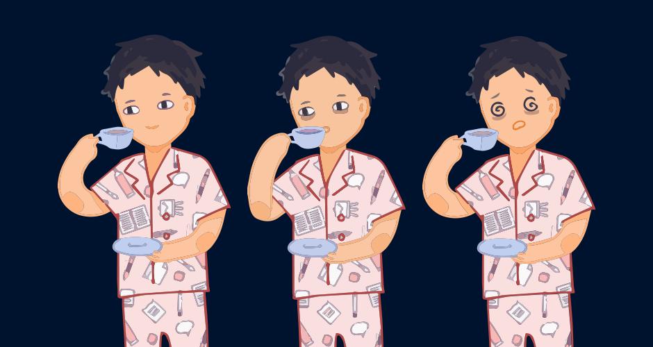 Hier sieht man drei mal den männlichen Charakter, während er eine Kaffeetasse in der Hand hält und daraus trinkt. Auf dem linken Abbild sieht der Junge wach und fröhlich aus, auf dem mittleren Bild hat der Junge schon Augenringe und auf dem rechten Bild ist der Junge sehr übermüdet und erschöpft.