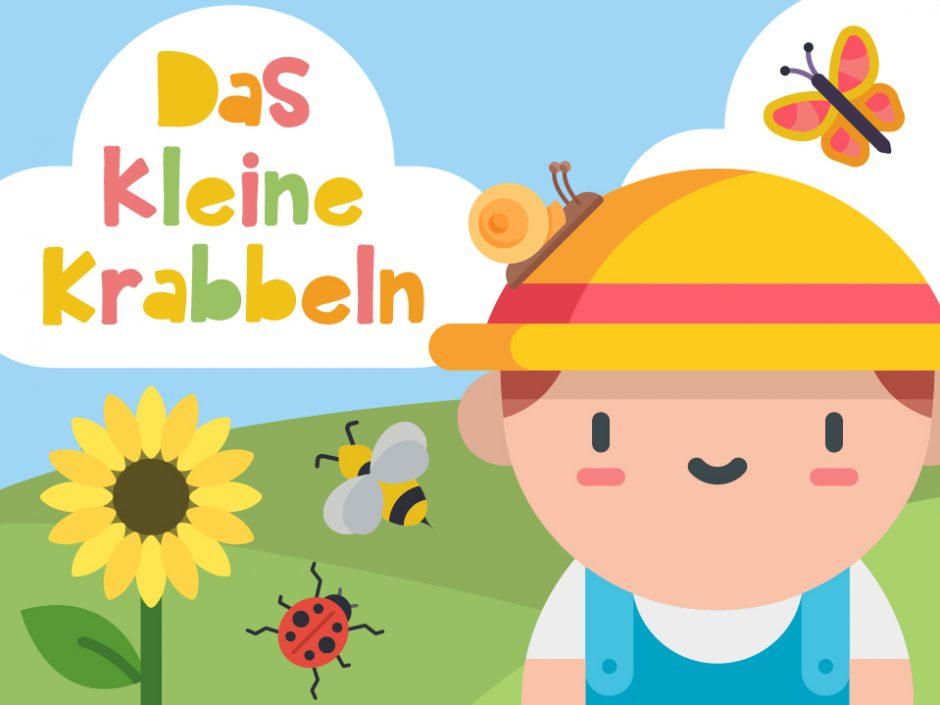 Illustriertes Kind auf einem Feld mit einer Sonnenblume. Auf dem Kopf des Kindes sitzt eine Schnecke und rundehrum flieget ein Schmetterling und eine Biene.