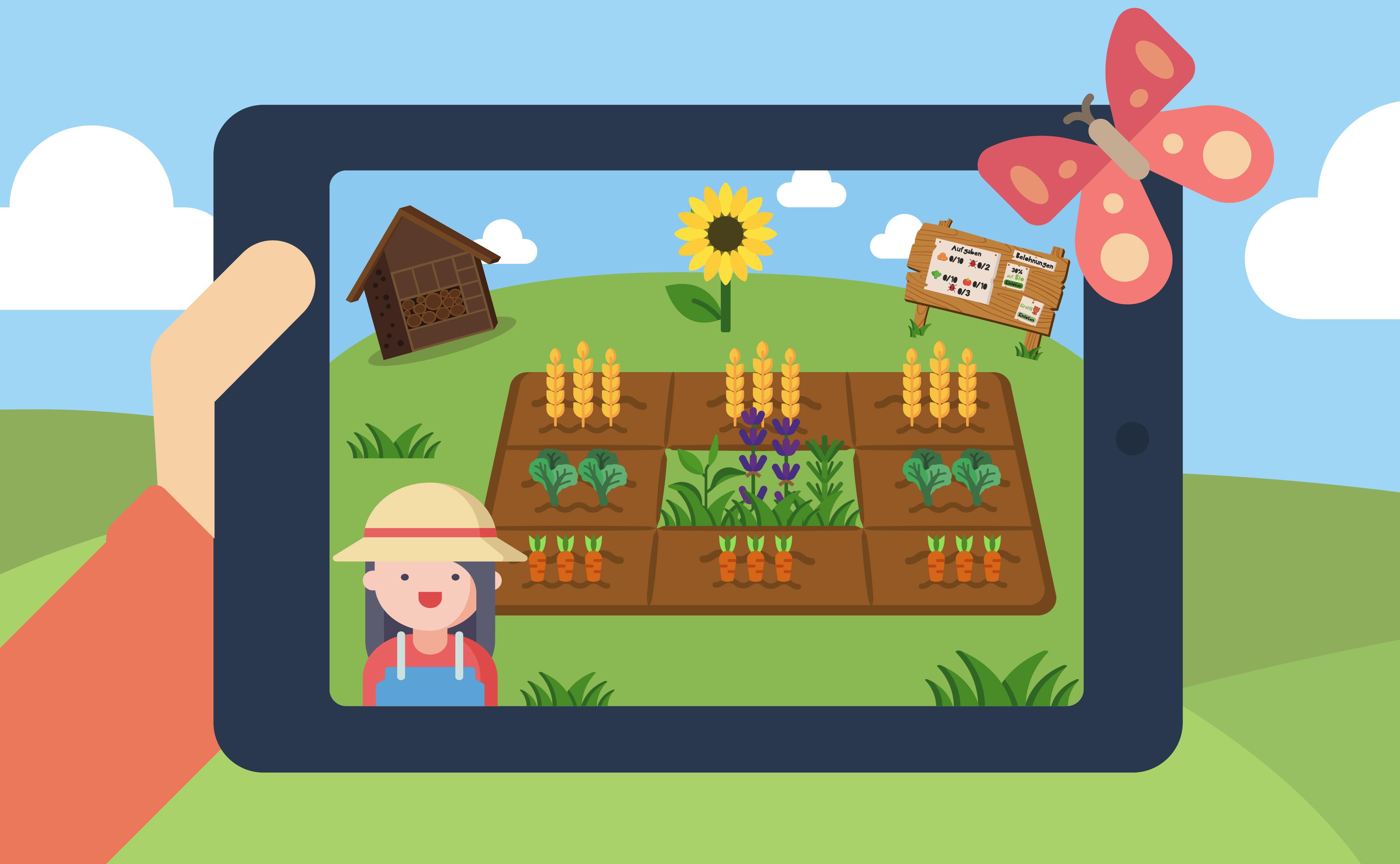 """Ansicht der Simulation von """"Das kleine Krabbeln"""" auf einem iPad. Auf dem iPad erkennt man einen Acker auf dem Karotten, Salat und Weizen angepflanzt ist. Im Vordergrund steht eine Bäuerin. Im Hintergrnd befindet sich ein Insektenhotel und ein Schild mit Aufgaben."""