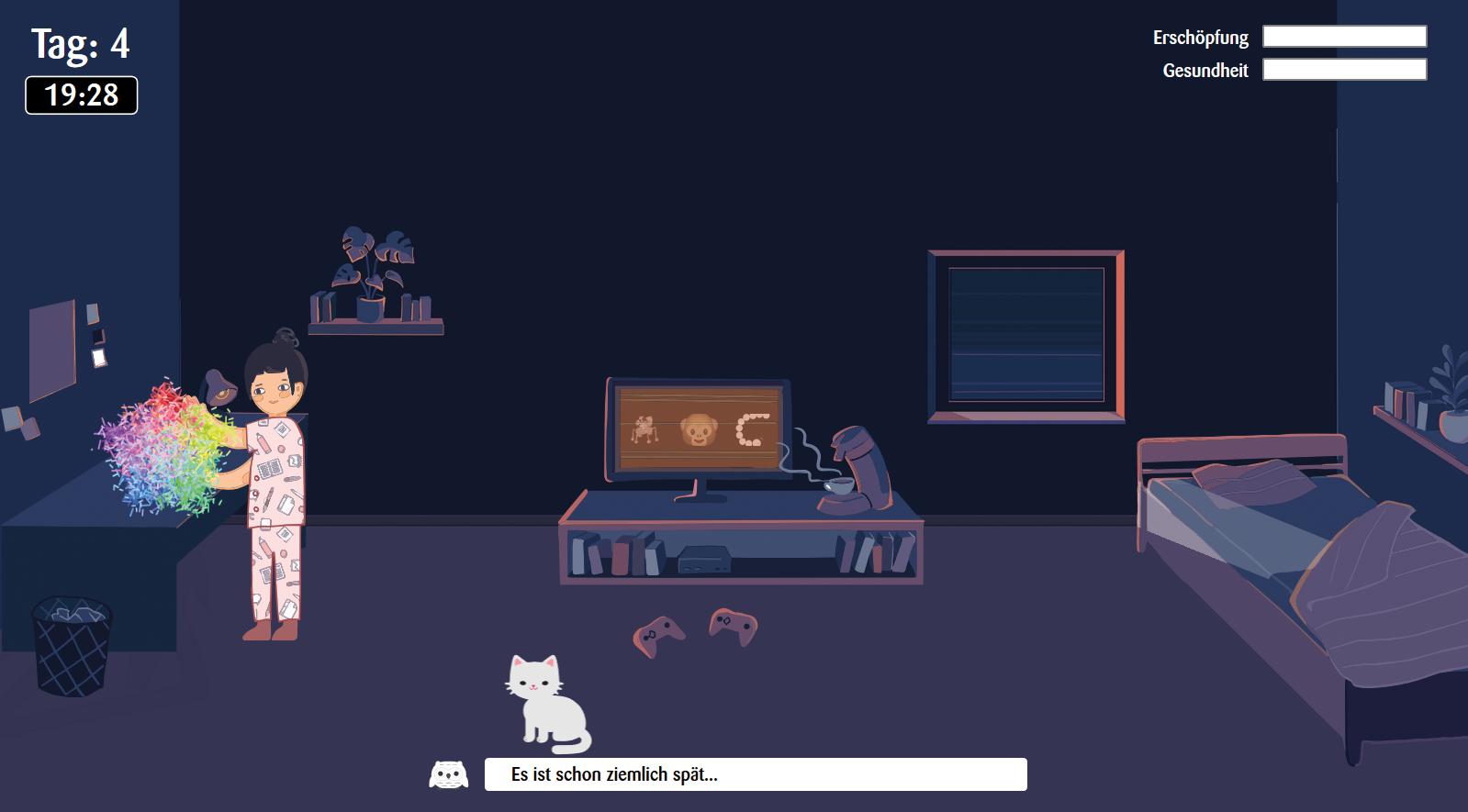 Das ist der Haupt Screen der Simulation, auf dem der Nutzer drei Tage des Charakters durchspielt.