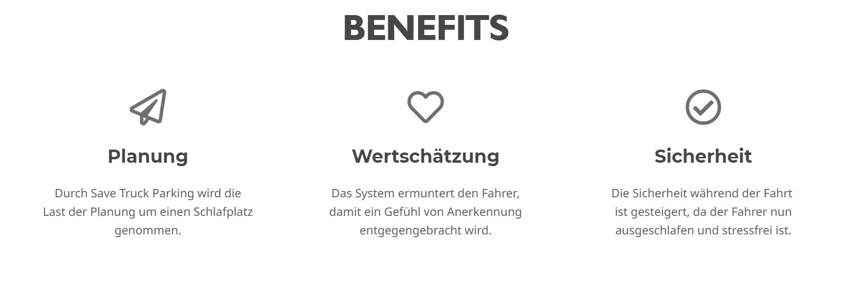 Informationsgrafik zu den drei Kern-Benefits: Planung, Wertschätzung, Sicherheit.