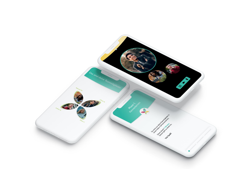 Verschiedene Handy-Bildschirmmasken, mit weißem und schwarzem Hintergrund und grünem Header.