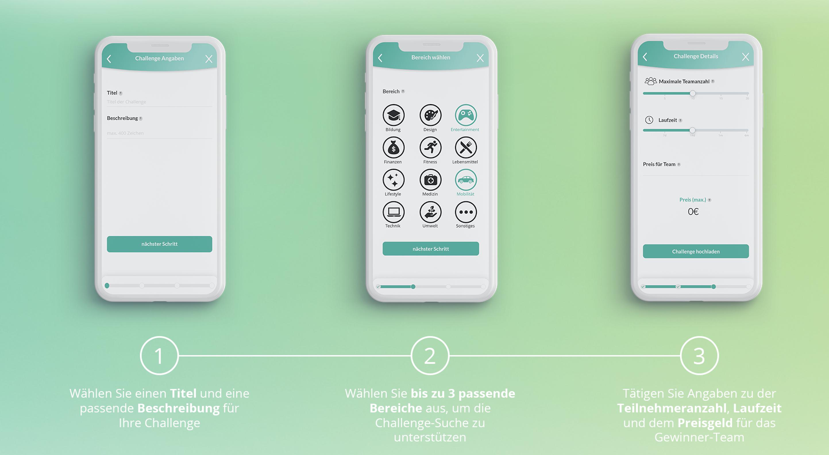 Bildschirmmasken auf einem Handy, die die drei Schritte zum Anlegen einer Challenge beschreiben: 1. Titel und Beschreibung eintragen, 2. Themengebiet auswählen, 3. Teilnehmerzah, Laufzeit und Preisgeld eintragen.