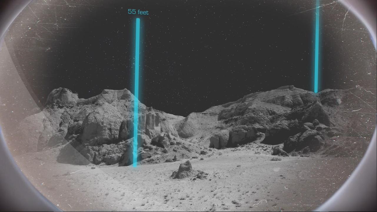 Blick auf Mondlandschaft mit eingeblendeten Landmarken