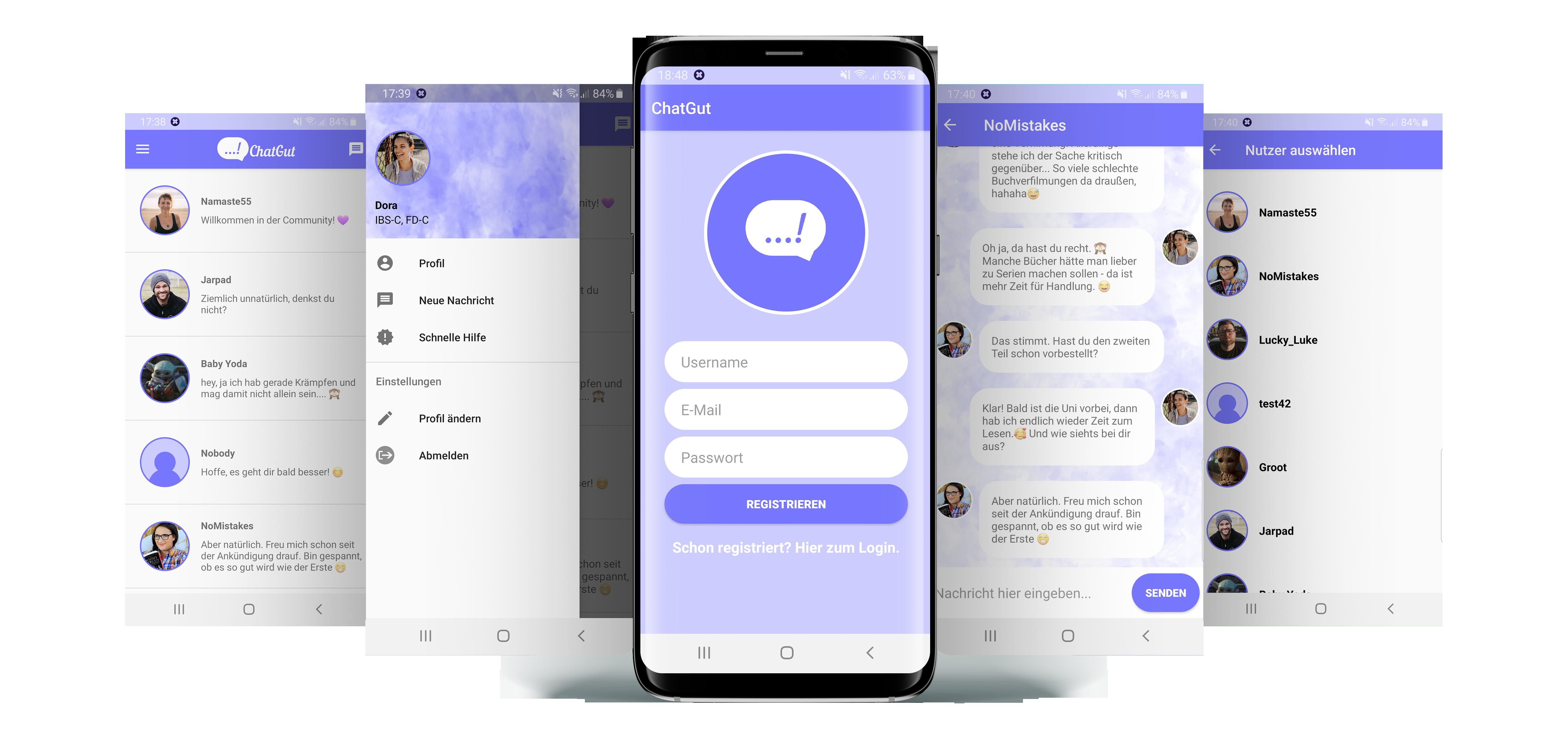 Anzeige verschiedener Funktionsansichten der App ChatGut.
