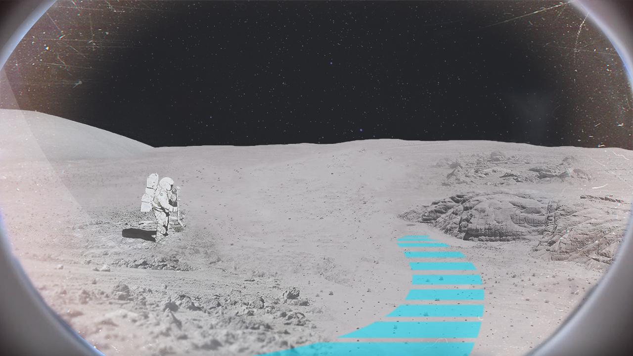 Blick auf Mondlandschaft mit eingeblendeter Leitlinie