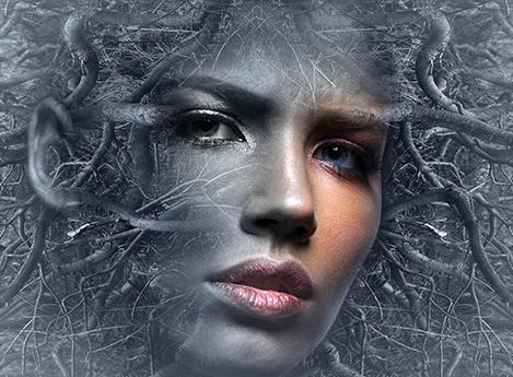 Fantasy-Motiv. Gesicht einer Frau, halb farbig, halb grau, eingerahmt und durchdrungen einem Geflecht aus grauen Adern.
