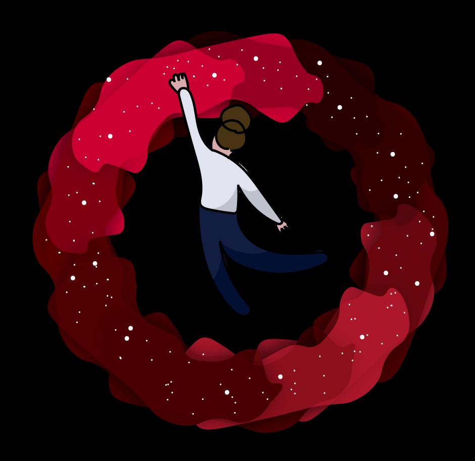 Illustration einer Frau, die nach den Sternen greift