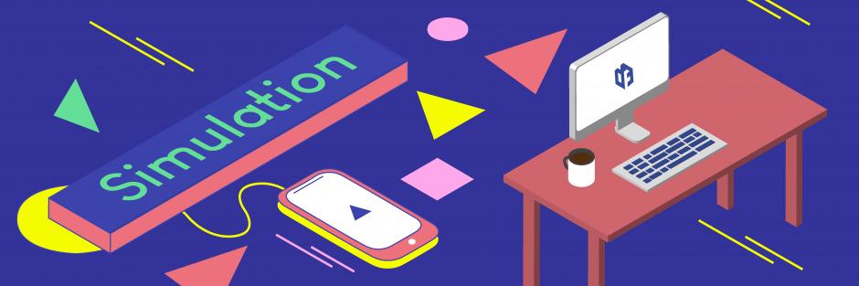 """Ein blaues Banner mit mehreren bunten Objekten, wie ein Smartphone und ein Schreibtisch mit Desktop PC. Darauf liegt die Aufschrift """"Simulation"""""""
