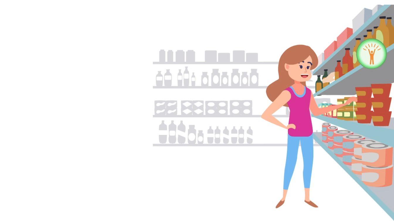 Kind befindet sich im Supermarkt, Symbol für Erfolg ist zu sehen