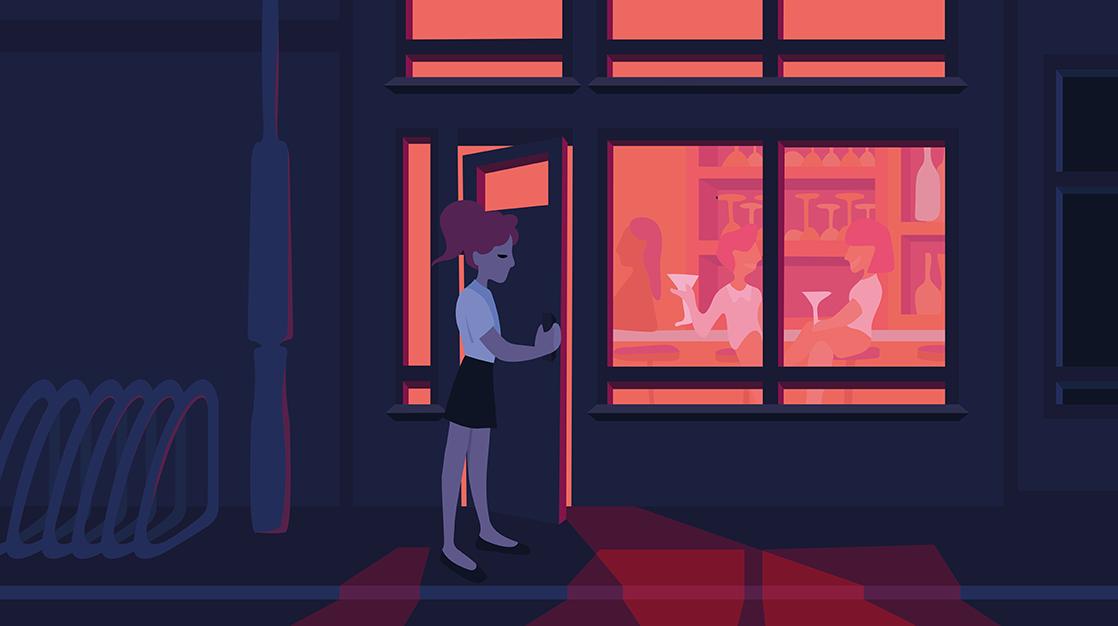Zeichnung von Frau vor einer Bar stehend.