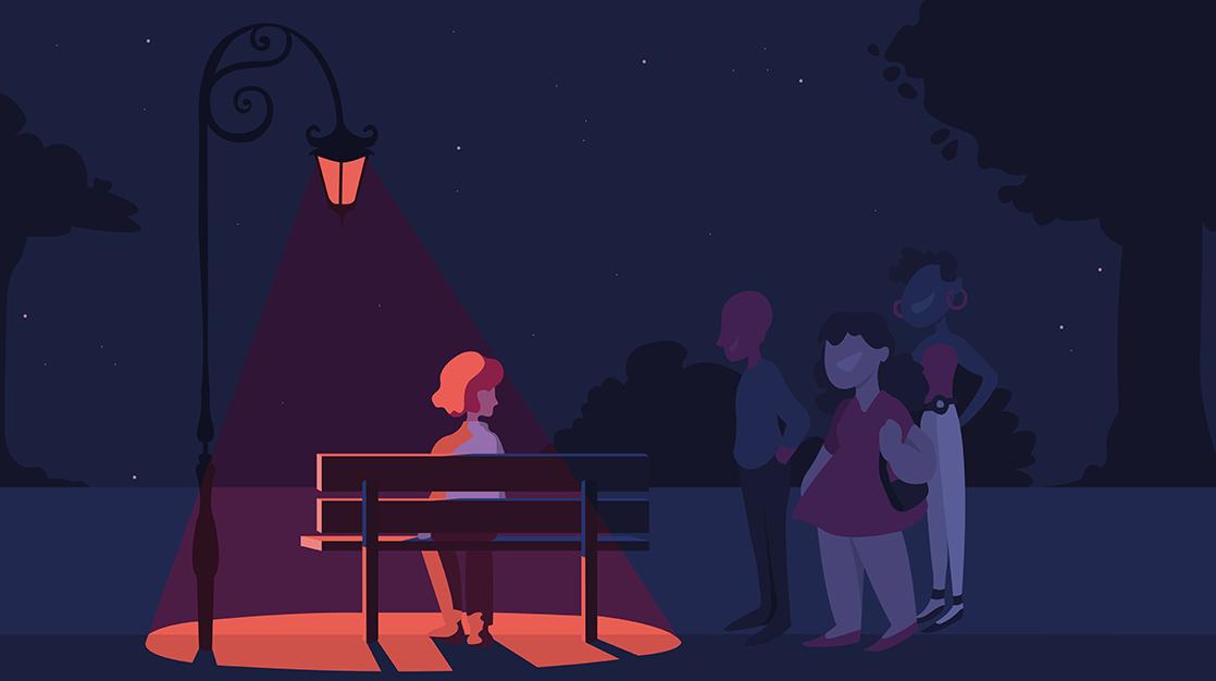 Zeichnung von Person auf einer Parkbank, neben ihr sind weitere Personen