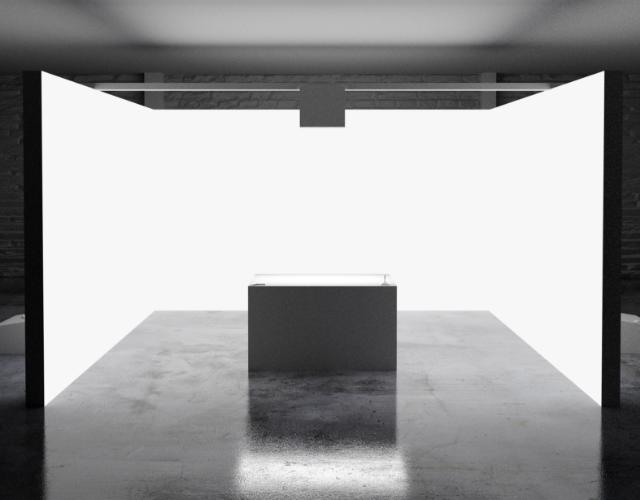 Weißer Installations Raum mit einem weißem Tisch