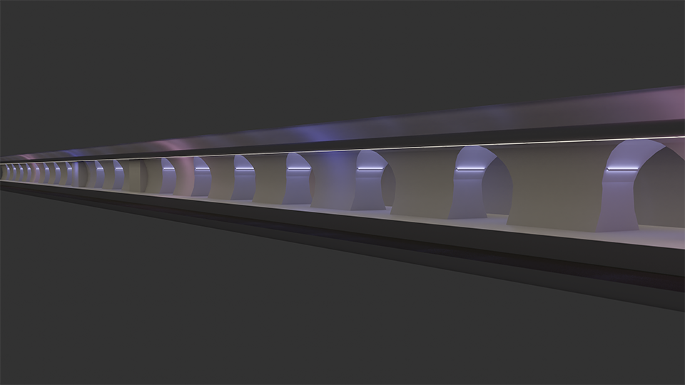 Bahnhof mit farbigem Licht