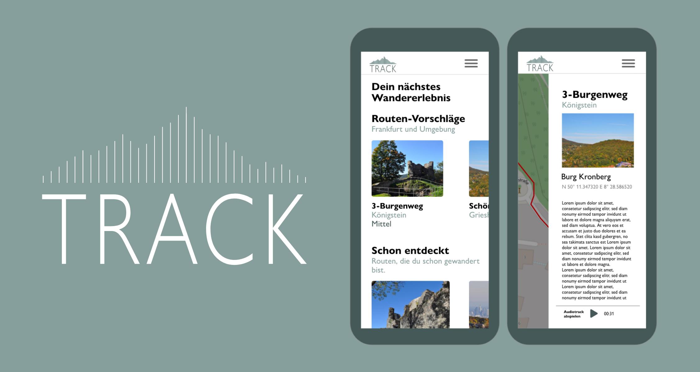 TRACK Logo und zwei Beispiel-Screens aus der App